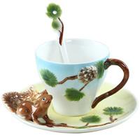 Porzellan, Löffel & Teetasse, Eichhörnchen, 83x70mm, 160mm, 135mm, verkauft von setzen