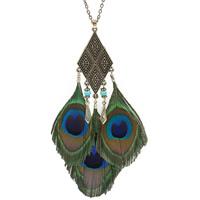 Sweater Türkis Halskette, Zinklegierung, mit Pfau Feder & Synthetische Türkis, antike Bronzefarbe plattiert, Oval-Kette & für Frau, frei von Nickel, Blei & Kadmium, 130mm, verkauft per ca. 29.5 ZollInch Strang