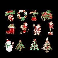 Weihnachten Broschen, Zinklegierung, plattiert, Weihnachtsschmuck & verschiedene Stile für Wahl & Emaille & mit Strass, frei von Blei & Kadmium, 50-60mm, verkauft von PC