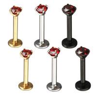 Edelstahl Lippenring, plattiert, Micro pave Zirkonia & für Frau, keine, 11x4x4mm, 1mm, verkauft von PC