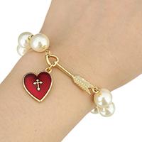 Kunststoff -Armband, Zinklegierung, mit Kunststoff Perlen, mit Verlängerungskettchen von 2.5Inch, goldfarben plattiert, für Frau & Emaille, frei von Nickel, Blei & Kadmium, 15x18mm, 9mm, 30mm, verkauft per ca. 6.5 ZollInch Strang