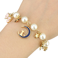 Zinklegierung Armband, mit Kunststoff Perlen, mit Verlängerungskettchen von 1.5Inch, goldfarben plattiert, Armband  Bettelarmband & für Frau & Emaille, frei von Nickel, Blei & Kadmium, 15mm, 14mm, 18mm, verkauft per ca. 8 ZollInch Strang