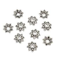 Zinklegierung Perlenkappe, Blume, antike Bronzefarbe plattiert, frei von Nickel, Blei & Kadmium, 8x8x3mm, Bohrung:ca. 2mm, ca. 5000PCs/kg, verkauft von kg
