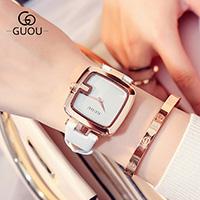 GUOU® Unisex Schmuckuhr, PU Leder, mit Glas, Quadrat, plattiert, für Frau, keine, 36x8mm, Länge:ca. 10 ZollInch, verkauft von PC