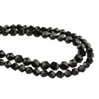 Natürliche schwarze Achat Perlen, Turmalin, facettierte, schwarz, verkauft per ca. 15.5 ZollInch Strang
