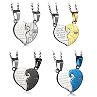 Edelstahl Puzzle Paar Halskette, Herz, plattiert, verschiedene Verpackungs Art für Wahl & Oval-Kette & mit Brief Muster & mit Strass, 30x25mm, 2mm, Länge:ca. 20 ZollInch, verkauft von Paar