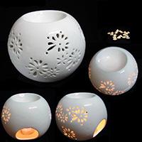 Porzellan Kerzenhalter, rund, hohl, weiß, 130x90mm, verkauft von PC