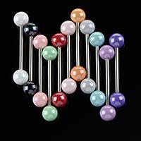 Edelstahl Zungenring, 316 L Edelstahl, mit Acryl, rund, unisex, gemischte Farben, 17mm, 1.2mm, 6mm, 10PCs/Menge, verkauft von Menge