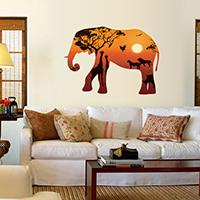 Wand-Sticker, PVC Kunststoff, Elephant, Klebstoff & wasserdicht, 300x900mm, verkauft von setzen