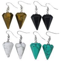 Edelstein Ohrringe, mit Messing, Kegel, Platinfarbe platiniert, verschiedenen Materialien für die Wahl & für Frau, 44mm, 14x27x14mm, verkauft von Paar