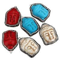 Buddhische Schmuck Anhänger, Synthetische Türkis, mit Messing Stiftöse & Ton, Buddha, Platinfarbe platiniert, buddhistischer Schmuck, keine, 25-27x37-38x14-16mm, Bohrung:ca. 2mm, 10PCs/Menge, verkauft von Menge