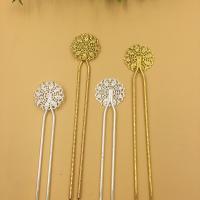Haarstock-Befunde, Messing, mit Eisen, Blume, plattiert, keine, frei von Nickel, Blei & Kadmium, 26mm, 10PCs/Tasche, verkauft von Tasche