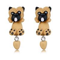Polymer Ton Cartoon-Split-Ohrring, mit Gummi Earnut, Edelstahl Stecker, Hund, für Frau, 11x35mm, verkauft von Paar