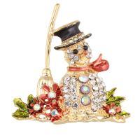 Weihnachten Broschen, Zinklegierung, Schneemann, goldfarben plattiert, Weihnachtsschmuck & Emaille & mit Strass, frei von Blei & Kadmium, 49x47x29mm, verkauft von PC