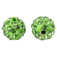 Strass Ton befestigte Perlen, Lehm pflastern, rund, mit 35 Stück Strass, keine, 10mm, Bohrung:ca. 2mm, 100PCs/Tasche, verkauft von Tasche