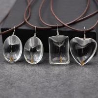 Glasperlen Halsketten, Glas, mit Gewachste Hanfschnur & Getrocknete Blumen, Platinfarbe platiniert, verschiedene Stile für Wahl & für Frau, 20mm, verkauft per ca. 17.5 ZollInch Strang