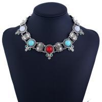Mode Türkis Halskette, Zinklegierung, mit Synthetische Türkis, mit Verlängerungskettchen von 8cm, antik silberfarben plattiert, für Frau & mit Strass, frei von Blei & Kadmium, 32mm, verkauft per ca. 13.5 ZollInch Strang