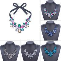 Acryl Halskette, Acryl Strass, mit Satinband, Blume, für Frau, keine, frei von Blei & Kadmium, 540mm, verkauft per ca. 21 ZollInch Strang