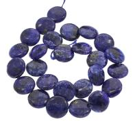Lapislazuli Perle, flache Runde, verschiedene Größen vorhanden, Bohrung:ca. 1mm, verkauft per ca. 15.7 ZollInch Strang