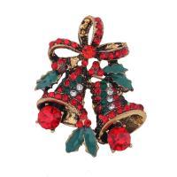 Weihnachten Broschen, Zinklegierung, Weihnachtsglocke, antike Goldfarbe plattiert, unisex & Weihnachtsschmuck & Emaille & mit Strass, frei von Blei & Kadmium, 30x30mm, verkauft von PC