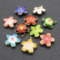 Cloisonné Anhänger, Blume, handgemacht, hohl, keine, 22x22mm, Bohrung:ca. 1.5mm, 10PCs/Tasche, verkauft von Tasche