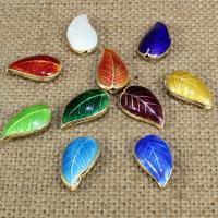 Cloisonne Perlen, Cloisonné, Blatt, handgemacht, keine, 18x10mm, Bohrung:ca. 1.5mm, 10PCs/Tasche, verkauft von Tasche