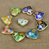 Cloisonne Perlen, Cloisonné, Herz, handgemacht, keine, 21x19mm, Bohrung:ca. 1.5mm, 10PCs/Tasche, verkauft von Tasche
