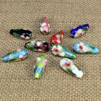Cloisonne Perlen, Cloisonné, Tropfen, handgemacht, keine, 15x7mm, Bohrung:ca. 1.5mm, 10PCs/Tasche, verkauft von Tasche