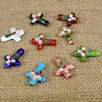 Cloisonne Perlen, Cloisonné, Kreuz, handgemacht, keine, 18x13mm, Bohrung:ca. 1.5mm, 30PCs/Tasche, verkauft von Tasche