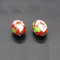 Cloisonne Perlen, Cloisonné, oval, handgemacht, keine, 18x12mm, Bohrung:ca. 1.5mm, 10PCs/Tasche, verkauft von Tasche
