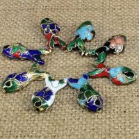 Cloisonne Perlen, Cloisonné, Fisch, handgemacht, keine, 20x9mm, Bohrung:ca. 1.5mm, 20PCs/Tasche, verkauft von Tasche