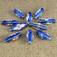 Cloisonne Perlen, Cloisonné, oval, handgemacht, keine, 23x9mm, Bohrung:ca. 1.5mm, 30PCs/Tasche, verkauft von Tasche