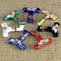 Cloisonne Perlen, Cloisonné, Buchstabe T, handgemacht, keine, 20x15mm, Bohrung:ca. 1.5mm, 10PCs/Tasche, verkauft von Tasche