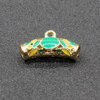 Zinklegierung Perlen Einstellung, goldfarben plattiert, Imitation Cloisonne & Emaille, frei von Blei & Kadmium, 20x11mm, Bohrung:ca. 1.5mm, 10PCs/Tasche, verkauft von Tasche
