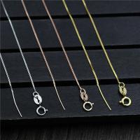 925 Sterling Silber Halskette Zubehöre, plattiert, unterschiedliche Länge der Wahl & Kastenkette, keine, 0.60mm, verkauft von Strang