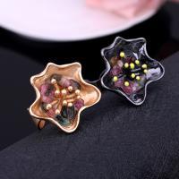 Zinklegierung Manschette Fingerring, mit Edelstein, Blume, plattiert, für Frau, keine, frei von Blei & Kadmium, 35x35mm, Größe:6-10, verkauft von PC