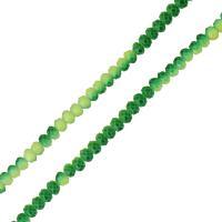 Kristall-Perlen, Kristall, facettierte, grasgrün, 3x4mm, Bohrung:ca. 0.5mm, Länge:ca. 18 ZollInch, 2SträngeStrang/Menge, ca. 153PCs/Strang, verkauft von Menge