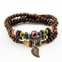 Holz Halskette, mit Zinklegierung, gefärbt & unisex & auch als Wrap Armband getragen & einstellbar, 6mm, verkauft per ca. 22 ZollInch Strang