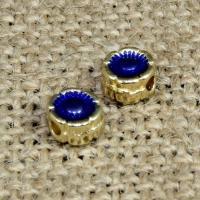Zinklegierung flache Perlen, flache Runde, goldfarben plattiert, Imitation Cloisonne & Emaille, frei von Blei & Kadmium, 6x3mm, Bohrung:ca. 1.5mm, 10PCs/Tasche, verkauft von Tasche