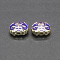 Imitation Cloisonne Zink Legierung Perlen, Zinklegierung, goldfarben plattiert, Emaille, keine, frei von Blei & Kadmium, 12x9mm, Bohrung:ca. 1.5mm, 10PCs/Tasche, verkauft von Tasche