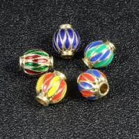 Imitation Cloisonne Zink Legierung Perlen, Zinklegierung, Laterne, goldfarben plattiert, Emaille, keine, frei von Blei & Kadmium, 10x8mm, Bohrung:ca. 2.5mm, 10PCs/Tasche, verkauft von Tasche