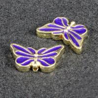 Imitation Cloisonne Zink Legierung Perlen, Zinklegierung, Schmetterling, goldfarben plattiert, Emaille, frei von Blei & Kadmium, 17x10mm, Bohrung:ca. 1.5mm, 10PCs/Tasche, verkauft von Tasche