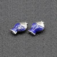 Imitation Cloisonne Zink Legierung Perlen, Zinklegierung, Fisch, silberfarben plattiert, Emaille, frei von Blei & Kadmium, 12x8mm, Bohrung:ca. 1.5mm, 10PCs/Tasche, verkauft von Tasche