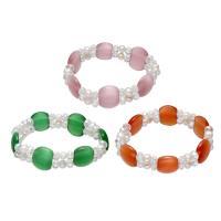 Cats Eye Armbänder, Katzenauge, mit elastischer Faden & Natürliche kultivierte Süßwasserperlen & Kristall, für Frau & facettierte & 2 strängig, keine, 5-6mm, verkauft per ca. 7.5 ZollInch Strang
