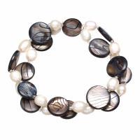 Süßwassermuschel Armband, mit Natürliche kultivierte Süßwasserperlen & Glas-Rocailles, für Frau & 2 strängig, 14x3mm, verkauft per ca. 7.5 ZollInch Strang