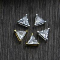 925 Sterlingsilber Schmuckverbinder, 925 Sterling Silber, Dreieck, plattiert, Mehrloch- & mit Strass, keine, 6.30x4mm, Bohrung:ca. 3.5mm, 10PCs/Menge, verkauft von Menge