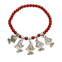 Synthetische Koralle Armband, mit Zinklegierung, Fisch, antik silberfarben plattiert, für Frau, rot, 5mm, verkauft per ca. 7.5 ZollInch Strang