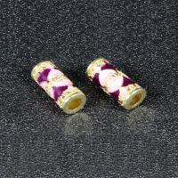 Imitation Cloisonne Zink Legierung Perlen, Zinklegierung, Zylinder, goldfarben plattiert, Emaille, keine, frei von Blei & Kadmium, 13x8mm, Bohrung:ca. 3mm, 10PCs/Tasche, verkauft von Tasche