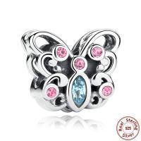 Thailand European Perlen, Schmetterling, Micro pave Zirkonia & für Frau & ohne troll, 10mm, Bohrung:ca. 4.5-5mm, verkauft von PC