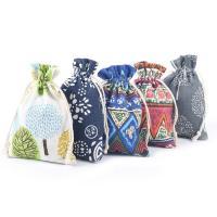 Schmuck Kordelzugbeutel, Baumwollgewebe, mit Hanfgarn, gemischtes Muster, 100x140mm, 10PCs/Tasche, verkauft von Tasche